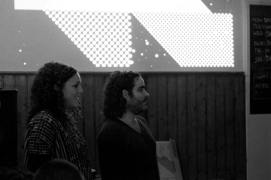 The LCMV team, Julia & Oliver at LCMV #1, Das Gift, Berlin-Neukölln. Photo © Katja Avant-Hard