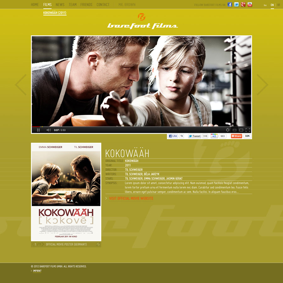 Website design for Barefoot Films