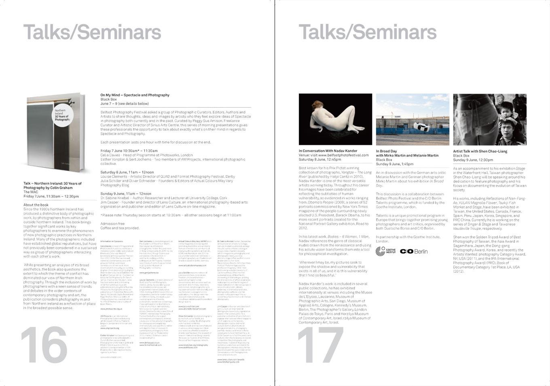 Belfast Photo Festival 2013   Catalogue pages 16 + 17
