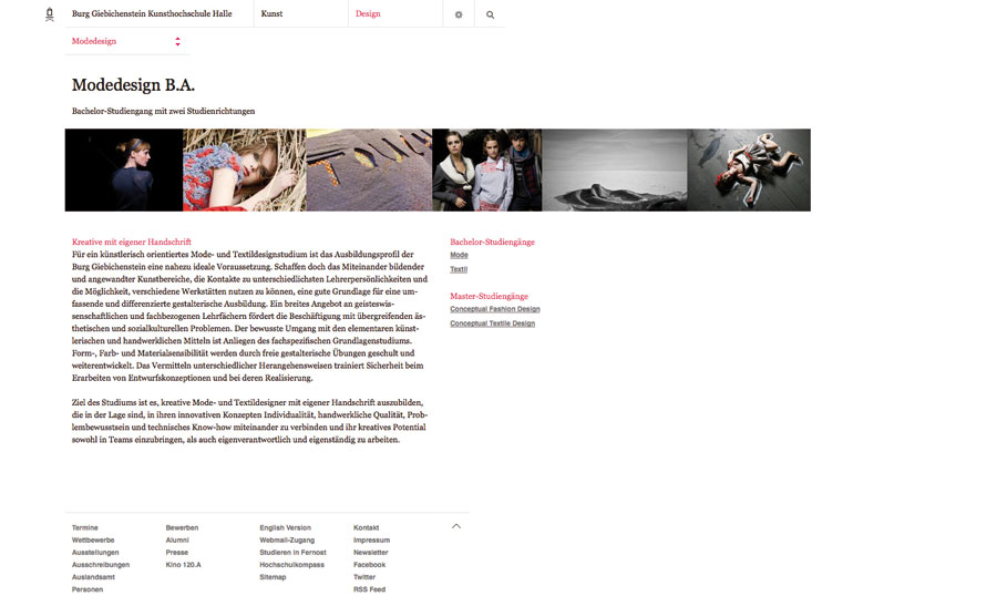 Supportive Art Direction for the relaunch of the website of Burg Giebichenstein Kunsthochschule Halle