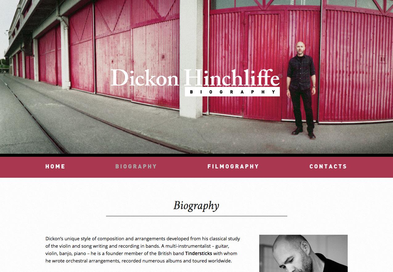 Dickon Hinchliffe website, biography