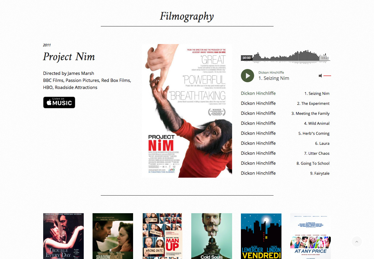 Dickon Hinchliffe website, filmography
