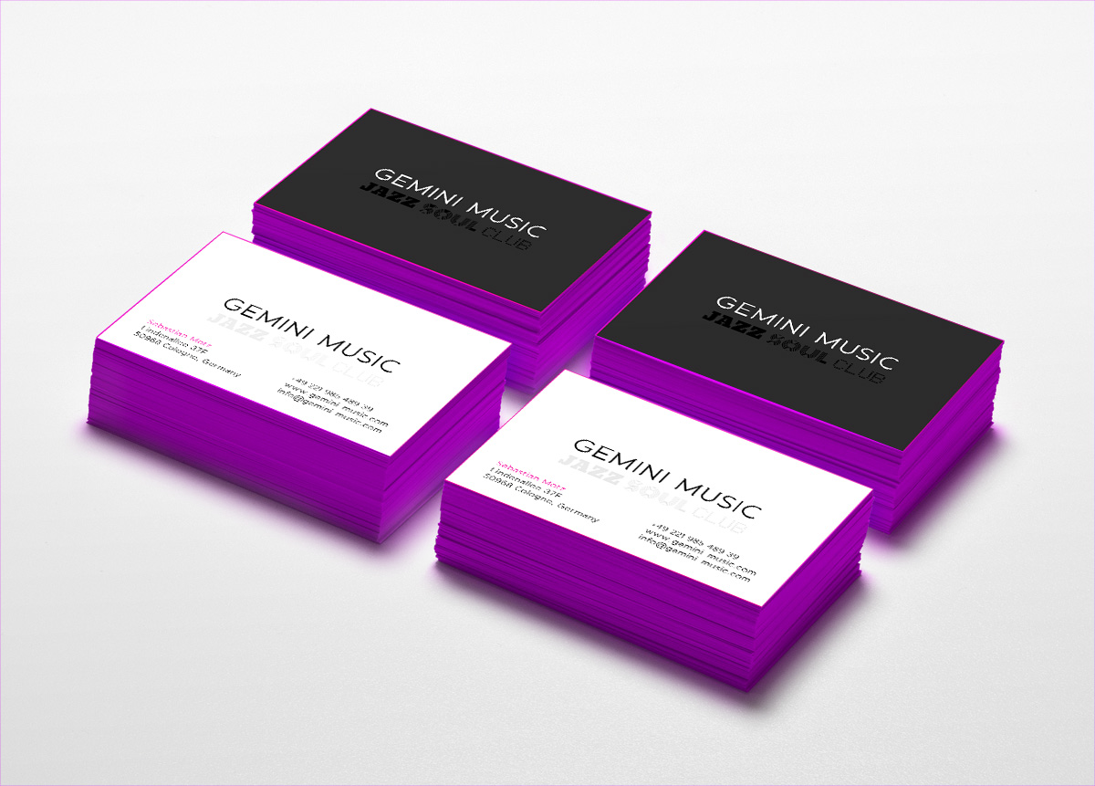 Gemini Music, business cards